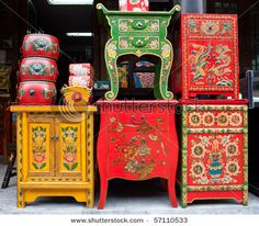 Preetttyyy Chinese painted wooden tables
