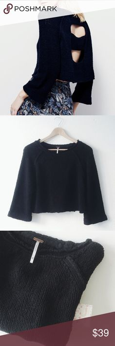 """NWT Free People Black crop sweater with back cut NWT. Oversized crop style. Wide sleeves. 66%cotton, 34%nylon. Approx Measurement: Chest-  XS: 20"""" ; M: 21"""". Length approx 18"""". (Order your true color if you prefer oversized crop style; if you prefer more fit style, please order one size down). Model in pic 5 is 5'5"""", wearing XS.  🐻only considering reasonable offers 🚫no trade Free People Sweaters Crew & Scoop Necks"""