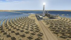 La tour solaire Ashalim en construction. la plus haute du monde