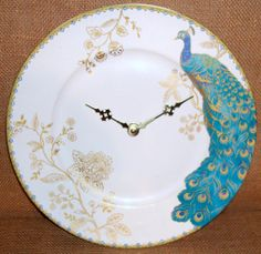 Wall Clock - Turquoise Blue Gold Peacock Porcelain Plate Wall Clock No. 1004 (11 inches). $37.00, via Etsy.