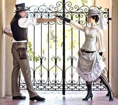 Top hats, goggles, time pieces and pistols for the gents. For the ladies think corsets, lace-up boots, long sleeves, gloves and mysterious c...
