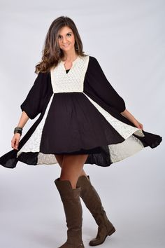 Umgee Lace Peasant Baby Doll Dress Black with Lace Trim