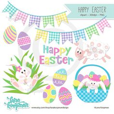 This Easter digital clipart has a variety of bright and fun images and word art for the Easter holiday.  Includes: 1 bunny in a basket 1 bunny in grass 1 lamb 1 word art 2 banners 5 eggs  300 dpi and saved as transparent PNG files.  Watermark is for preview only.  May be used for commercial (credit required), teachers, and personal use.  You may use this product for: Scrapbooking Invitations Handmade crafts Printed paper products Stationery Party supplies Jewelry Embroidery Etc.  My original…