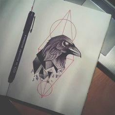 just my skatchs, drawings Crow Tattoo Design, Free Tattoo Designs, Sketch Tattoo Design, Tattoo Sketches, Drawing Sketches, Geometric Tattoo Sketch, Tattoo Graphic, Fenrir Tattoo, Raven Tattoo