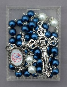 New York Baseball  8mm Blue Pearl Glass Rosary