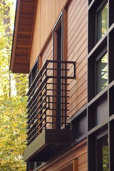 black metal balcony railing idea in modern minimalist style wooden siding exterior idea of 50 Inspiring Photos of Home Railing Front Ideas Balcony Doors, Balcony Railing, French Balcony, Balcony Design, Blinds, Stairs, Shutters, Ladder, Window Blinds