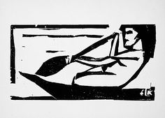 Ernst Ludwig Kirchner (Germany, Aschaffenburg, 1880-05-06 - 1938-06-15)  Samoan woman rowing, 1910  Print, Woodcut on wove paper, Image: 6 11/16 x 4 1/4 in. (16.99 x 10.8 cm); Sheet: 9 1/8 x 6 3/4 in. (23.18 x 17.15 cm)  The Robert Gore Rifkind Center for German Expressionist Studies (M.82.288.374b)  Robert Gore Rifkind Center for German Expressionist Studies Department. LACMA