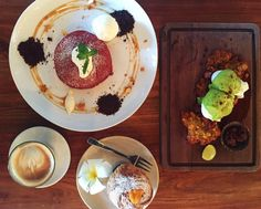 Red velvet pancakes salted egg yolk cruffin and a sweet corn fritter topped with poached eggs and avocado hollandaise...So whose comin with me to Bali ?