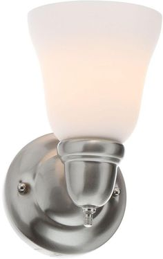 1-Light Brushed Nickel Frosted Glass Shaded Wall Mounted Sconce Light Fixture #HamptonBay #Traditional