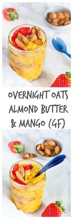 Gluten-free almond butter mango overnight oats Recipes From A Pantry Vegetarian Breakfast Recipes, Brunch Recipes, Dessert Recipes, Gluten Free Recipes For Kids, Gluten Free Oats, Oats Recipes, Banana Bread Recipes, Best Overnight Oats Recipe, Almond Butter