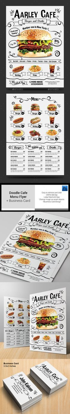 Doodle Cafe Menu + Business Card Template #design Download: http://graphicriver.net/item/doodle-cafe-menu-business-card/13013710?ref=ksioks