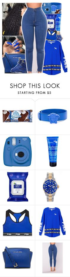 """""""Untitled #930"""" by issaxmonea ❤ liked on Polyvore featuring Humör, Versace, Fujifilm, I Love..., Yes To, Rolex, Victoria's Secret, Victoria's Secret PINK and MICHAEL Michael Kors"""