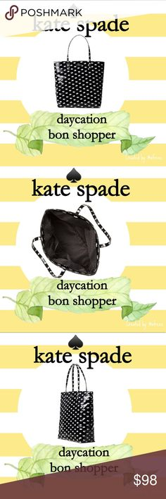 """kate spade daycation don shopper in small swan Details: New kate spade daycation don shopper in small swans pattern which debuted 8/2017 Style: Shoulder bag w/open top & dual interior slide pockets.  Material: Printed coated poplin w/patent pvc trim Size: 13.5""""h x 12.3""""w x 5.1""""d Condition: New with tags Reasonable offers considered. For specifics please read closet information at the beginning of my closet.  Bundle and save! Discounts offered on orders including 3+ items. 🛒📦📭  Thank you…"""