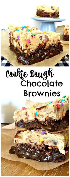 Cookie Dough Brownies Rich and fun Cookie Dough Chocolate Brownies! Kids will love these (but so will adults). You have to try these!Rich and fun Cookie Dough Chocolate Brownies! Kids will love these (but so will adults). You have to try these! Biscuits Brownies, Cookie Dough Brownies, Cookies Et Biscuits, Cookie Dough Desserts, Baking Brownies, Brownie Recipes, Cookie Recipes, Dessert Recipes, Dessert Bars