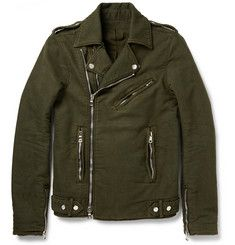 BalmainWashed Cotton-Twill Biker Jacket