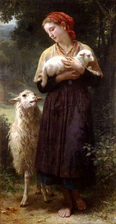 William Adolphe Bouguereau The Newborn Lamb print for sale. Shop for William Adolphe Bouguereau The Newborn Lamb painting and frame at discount price, ships in 24 hours. William Adolphe Bouguereau, Images Vintage, Vintage Art, Sheep Art, Oil Painting Reproductions, Fine Art, Beautiful Paintings, Illustration, Artwork