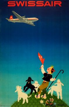 Swissair Donald Brun 1954 - original vintage poster by Donald Brun listed on AntikBar.co.uk