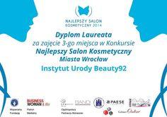 Dyplom dla Laureata w konkursie na Najlepszy Salon Kosmetyczny we Wrocławiu 2014
