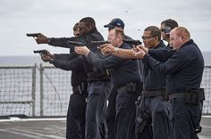 Sailors aboard the Ticonderoga-class guided-missile cruiser USS Lake Erie (CG 70) fire 9mm pistols during a Navy handgun qualification course aboard the Ticonderoga-class guided-missile cruiser USS Lake Erie (CG 70). Find our speedloader now!  www.raeind.com  or  http://www.amazon.com/shops/raeind