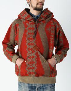 Kapital SS12 Linen Wool Navajo Blanket Mt Hood Sweater Khaki Red