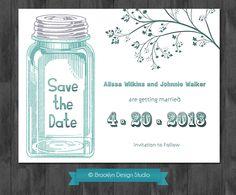 Save The Date Rustic Mason Jar Theme Custom Announcement - Digital File. $15.00, via Etsy.