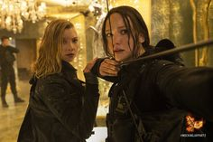 Cressida and Katniss Everdeen are on high alert in the Capitol. #MockingjayPart2
