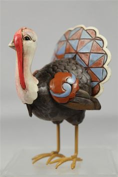 "Jim Shore 'Mini Turkey' Figurine #4027807 --3 1/2"" High Ceramic Sculptures, Wood Sculpture, Turkey Project, Pottery Ideas, Angels, Thankful, Thanksgiving, Clay, Cabin"