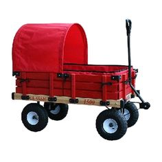 Millside Industries 04158 20 inch x 38 inch Wooden Covered Wagon withPads with 4 inch x 10 inch Tire, Red Kids Wagon, Toy Wagon, Folding Wagon, Hardwood Decking, Sports Wagon, Wood Rack, Toys R Us Canada, Covered Wagon, Radio Flyer
