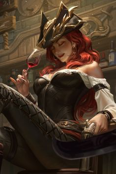 ArtStation - 好运姐 Fan art-----Miss Fortune, Hou China Lol League Of Legends, Dnd Characters, Fantasy Characters, Female Characters, Miss Fortune, Fantasy Women, Fantasy Girl, Character Portraits, Character Art