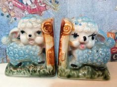 VERY RARE Vintage Antiques Little Lamb Sheep and Bamboo Bookends Salt and Pepper…