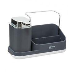 Dávkovač mydla s organizérom, šedý 5five Simple Smart | Dekorácie do bytu Liquid Soap, Organizer, Hand Washing, Soap Dispenser, Plumbing, Sink, Dimensions, Products, Support