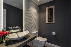White wave tile wall