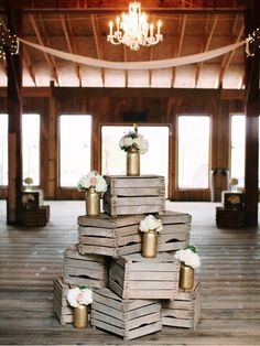 wooden crates for sale! photo by Dan Stewart Photography http://ruffledblog.com/recycle-your-wedding vintage weddings, stuff, wooden crates wedding, vintage wood, barn weddings, special event, crate decor, fall weddings, wood crates