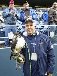 Seahawk mascot Taiza and her handler.  Taiza flies out of the team's tunnel entrance and leads the team onto the field for every home game.
