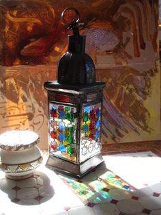 unique metal lanterns | Stained & painted glass Candle lantern, unique rustic metal ...