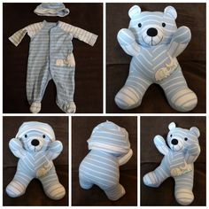 This Company Turns Your Baby's Onesies Into Cute Keepsakes This company will take your tot's baby clothes and turn them into adorable stuffed bears. Becoming Mom, Teddy Bear Sewing Pattern, Memory Pillows, Baby Sleepers, Baby Memories, Baby Keepsake, Diy Stuffed Animals, Diy Crafts For Kids, Baby Items