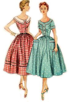 """""""Mother and Daughter"""" Dress w/Fitted Bodice and Full Skirt pattern - 1954  Complete, original, Simplicity Pattern #4641  Consutura Fashionista $14.00"""