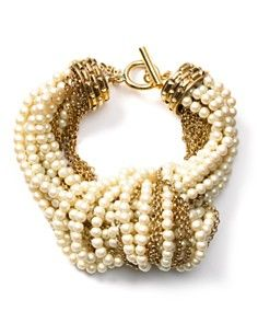 ABS by Allen Schwartz Knotted Pearl and Chain Bracelet