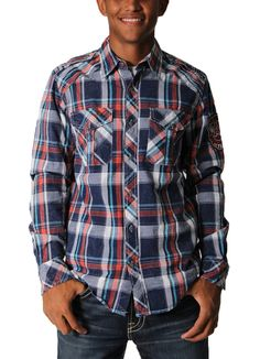 This End Of The Tunnel Woven Shirt in Midnight Blue by Affliction features a multicolored plaid print, long sleeves, a button front, a collared neckline, two front pockets with flaps and button closures, contrast white stitching, and an Affliction American Customs Patch on the sleeve.Material Content: 98% Cotton, 2% SpandexCare Instructions: Machine Wash