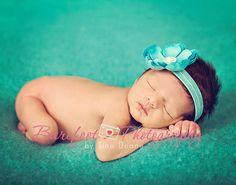 Turquoise baby flower headband photo prop