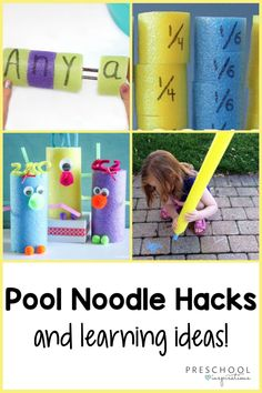 Pool noodles are the perfect material to hack for a summer learning activity! Pool noodles are genius for chopping up and adding letters or numbers to help children master skills such as math, reading, and more. These ideas take pool noodles and turn them into engaging and exciting activities for kids! Motor Skills Activities, Educational Activities For Kids, Literacy Activities, Summer Activities, Preschool Writing, Preschool Themes, Science Experiments Kids, Science For Kids, Learning The Alphabet