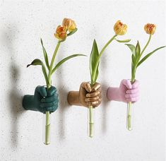 Handie Flower Vase – fourlinedesign Flower Vases, Flowers, Wall Decor, Plants, Wall Hanging Decor, Bud Vases, Florals, Vase, Planters