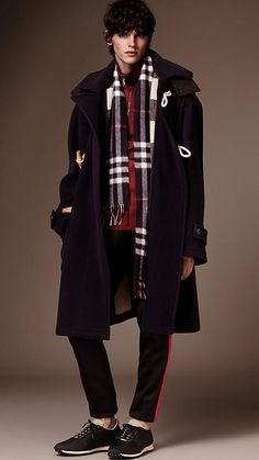 Navy Oversize Wool Blend Duffle Coat with Detachable Hood - Image 1