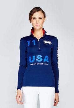 Noel Asmar Equestrian, 1/4 Zip Continental Sun-Shirt, USA