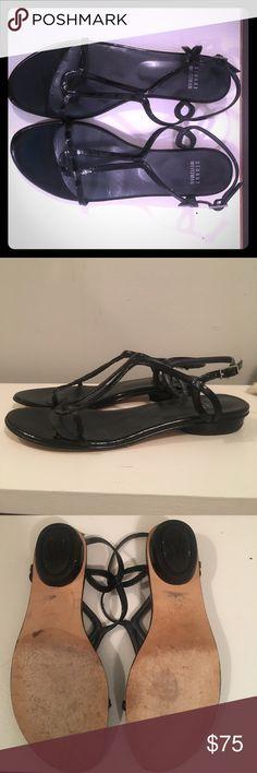 Stuart Weitzman Black Patent Leather Flat Sandals Stuart Weitzman Black Patent Leather Flat Sandals. Size 7.5. Worn handful of times, great shape. Stuart Weitzman Shoes Sandals