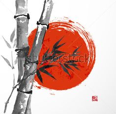 Card with bamboo and big red sun in sumi-e style. Hand-drawn with ink. Vector illustration. Traditional Japanese painting. bamboo-japan - stock vector - 365psd