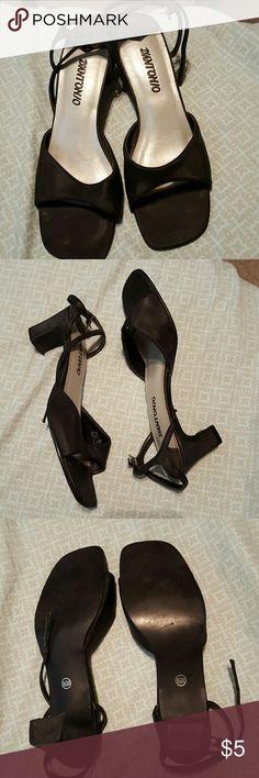 Black satin kitten heels with ankle straps Black satin 3 inch heels with ankle straps D'antonio Shoes Heels