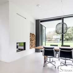 Black And White Interior, Oversized Mirror, Conference Room, Luxe Villa, Table, House, Furniture, Home Decor, Detail