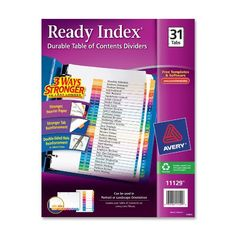 Ready Index Contemporary Table of Contents Divider, 1-31, Multi, Letter