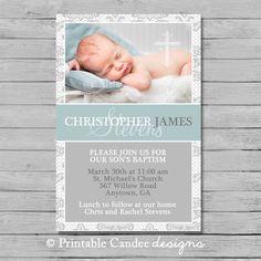 Blue and Grey Baptism Invitation - Boy Baptism Invitation - Boy Christening…